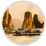 Halong Bay - Vietnam Round Beach Towel by Luciano Mortula