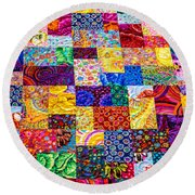 Hand Made Quilt Round Beach Towel by Sherman Perry