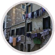Hanging Out To Dry In Venice Round Beach Towel