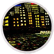Round Beach Towel featuring the painting Harbour Lights by Leanne Seymour