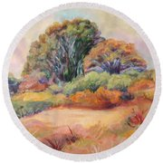 Round Beach Towel featuring the painting Henry's Backyard by Patricia Piffath