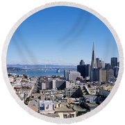High Angle View Of A City, Coit Tower Round Beach Towel