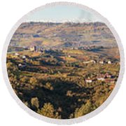 High Angle View Of Vineyards Round Beach Towel