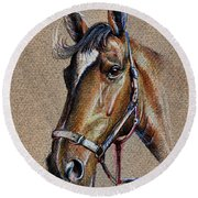 Horse Face - Drawing  Round Beach Towel