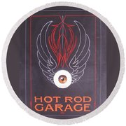 Round Beach Towel featuring the painting Hot Rod Garage by Alan Johnson
