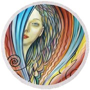 Illusive Water Nymph 240908 Round Beach Towel by Selena Boron