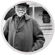 Industrialist Andrew Carnegie Round Beach Towel