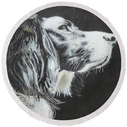 Round Beach Towel featuring the painting Intent by Jeanne Fischer