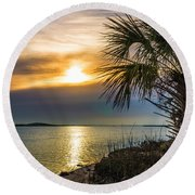 Round Beach Towel featuring the photograph Intracoastal Sunrise by Frank Bright