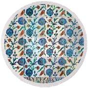 Iznik Ceramics With Floral Design Round Beach Towel