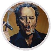 Jack Nicholson Painting Round Beach Towel