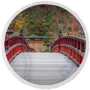Round Beach Towel featuring the photograph Japanese Bridge by Sebastian Musial