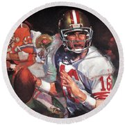 Joe Montana Round Beach Towel by Jay Milo