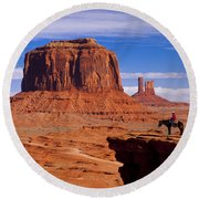 John Ford Point Monument Valley Round Beach Towel
