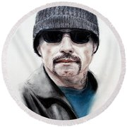 Round Beach Towel featuring the mixed media John Travolta In The Taking Of Pelham 123  by Jim Fitzpatrick