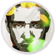 Round Beach Towel featuring the digital art Justin Timberlake by Svelby Art