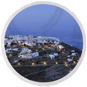 Kastro Village In Sifnos Island Round Beach Towel