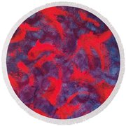 Round Beach Towel featuring the painting koi by Jacqueline McReynolds
