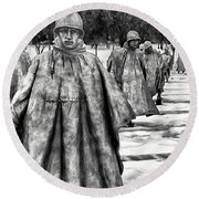 Korean War Memorial Washington Dc Round Beach Towel