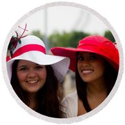 2 Ladies In Red Round Beach Towel by John McGraw