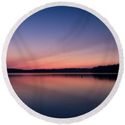 Lake Lanier After Sunset Round Beach Towel