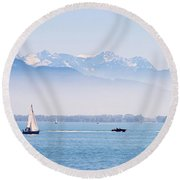 Lake Of Constance Round Beach Towel