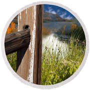 Round Beach Towel featuring the photograph Landscape With Fence Pole by Gunter Nezhoda