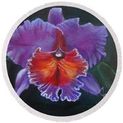 Round Beach Towel featuring the painting Lavender Orchid by Jenny Lee