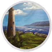 Lighthouse Round Beach Towel by Bozena Zajaczkowska