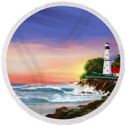 Lighthouse On The Cliff Round Beach Towel by Anthony Fishburne
