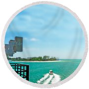 Longboat Pass Drawbridge Round Beach Towel