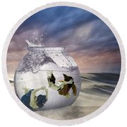 2 Lost Souls Living In A Fishbowl Round Beach Towel