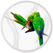 Round Beach Towel featuring the photograph Love Birds by J Anthony