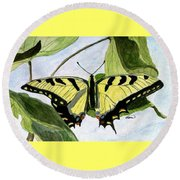 Round Beach Towel featuring the painting Male Eastern Tiger Swallowtail by Angela Davies
