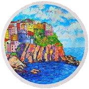Manarola Cinque Terre Italy  Round Beach Towel by Ana Maria Edulescu