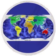 Map Of The World Round Beach Towel by Georgi Dimitrov