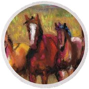 Mares And Foals Round Beach Towel