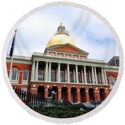Massachusetts State House Boston Ma Round Beach Towel