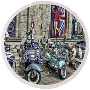 Mod Scooters And 60s Fashion Round Beach Towel