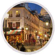 Montmartre Twilight Round Beach Towel by Brian Jannsen