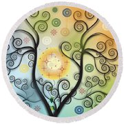 Round Beach Towel featuring the digital art Moon Swirl Tree by Kim Prowse