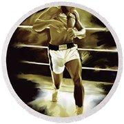 Muhammad Ali Boxing Artwork Round Beach Towel