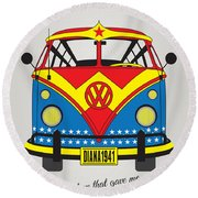 My Superhero-vw-t1-wonder Woman Round Beach Towel