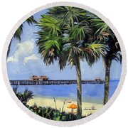 Naples Pier Naples Florida Round Beach Towel
