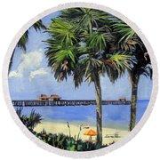 Naples Pier Naples Florida Round Beach Towel