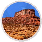 Round Beach Towel featuring the painting National Navajo Tribal Park by Bob and Nadine Johnston
