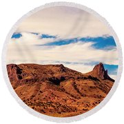 Navajo Nation Series Along 87 And 15 Round Beach Towel by Bob and Nadine Johnston