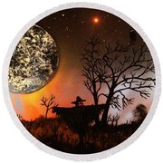 Night Of The Scarecrow  Round Beach Towel by Michael Rucker