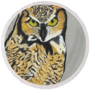 Round Beach Towel featuring the painting Night Owl by Jeanne Fischer