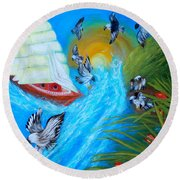 Nine Eagles For Success. Soul Collection Round Beach Towel